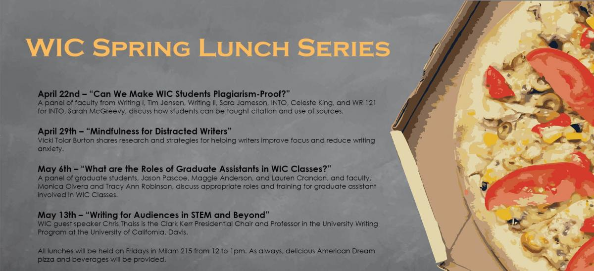 List of topics/presenters for the 2016 WIC Spring Lunch Series